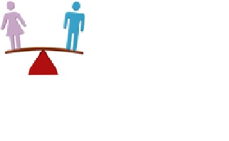 Purpose of the image is decorative to the page and shows a male and female figure on opposing sides of a set of scales (illustrating that sometimes psychological research comes with unbalanced results).